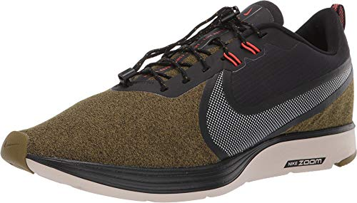 Nike Men's Zoom Strike 2 Shield Running Shoes (7.5 M US, Olive Flak/Metallic Silver)