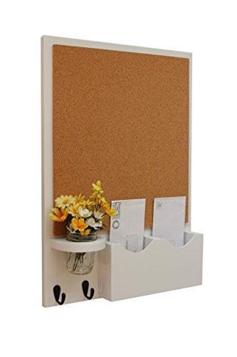 Legacy Studio Decor Cork Board Mail Organizer with Key Hooks & Mason Jar (Smooth, White)