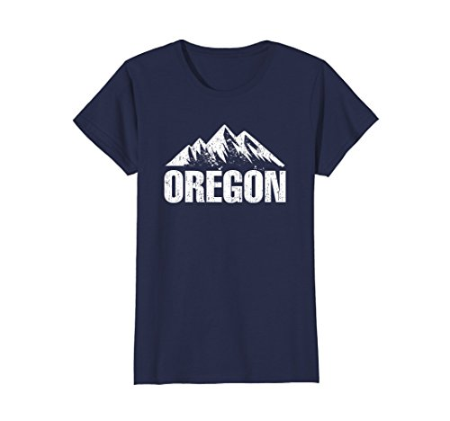 Womens Oregon Home State With Mountains Distressed T Shirt Large Navy