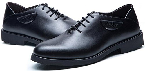Summerwhisper Mens Dress Plain Almond Toe Low Top Lace-up Wingtips Business Shoes Synthetic Leather Oxfords Black G28oIH