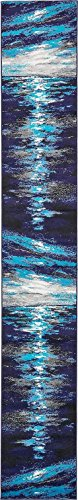 A2Z Rug Modern Navy Blue 2' x 13' FT Runner Fancy Collection Contemporary Area rug, Perfect For Home Floor Décor - Living Room Rugs, Dinning and Bedroom Carpet (Luxury Designer Furniture Outdoor)