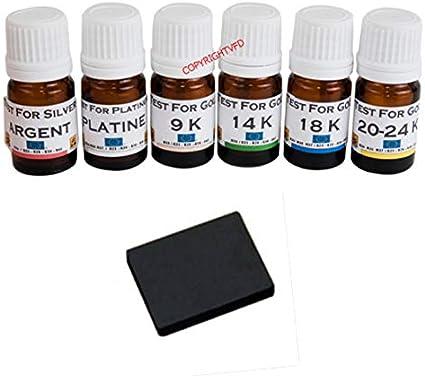 Platine 6 Test or 9 14 18 20//24 carats k Pierre de touche testeur Argent