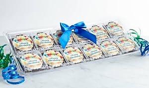 12 Pack Happy Birthday Chocolates Gift (Blue Ribbon)
