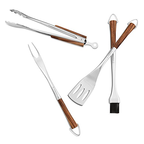 Wolfgang Puck BBQ Tool Set - 4 Pieces, Stainless Steel with Acacia Wood Handles