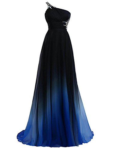 Women's One-Shoulder Gradient Black Blue Long Chiffon Prom Evening Dresses S