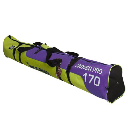 BRUBAKER Padded Ski Bag Skibag Carver Pro 2.0 with strong 2-Way Zip and Compression Straps - Purple Green - 66 7/8