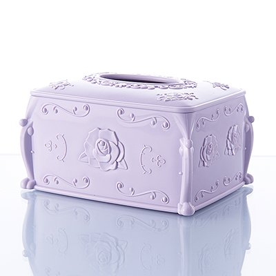 Zebratown PP Rose Carved Tissue Box Cover Facial Tissue Box Cover/Holder for Bathroom Vanity Countertops (Purple) - Carved Bath Vanity