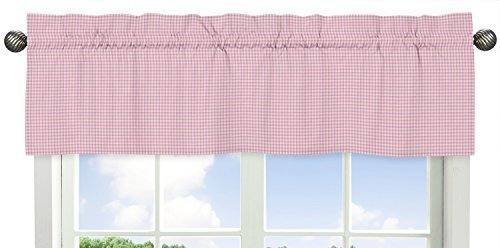 Pink Toile Curtains - Sweet Jojo Designs Gingham Window Valance for Pink French Toile Collection