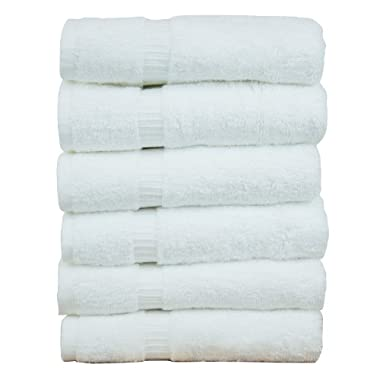Luxury Hotel & Spa Towel 100% Genuine Turkish Cotton (White, Hand Towel  - Set of 6)