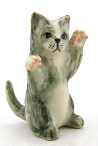 ChangThai Design Dollhouse Miniatures Ceramic Gray Cat dancing FIGURINE Animals Decor by ChangThai Design