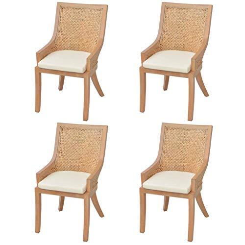 binzhoueushopping sillas de Comedor 4 Unidades de Rattan diseño ...