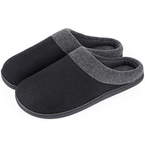 (HomeIdeas Men's Woolen Fabric Memory Foam Anti-Slip House Slippers- Black/Large- US 11-12/ UK 10-11)