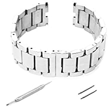 GOOQ Steel Stainless Bracelet Metal Watchband Fit for Moto 360 Smartwatch Motorola Moto 360 Watch Band Plus Free Stainless Spring Bar Tool and Screen Protector for Moto 360 Wristband (Stainless Silver Without Push Button)