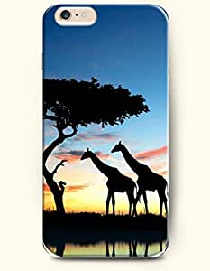 iPhone 6 Plus Case 5.5 Inches Two Giraffes Walking beside River at Sunset - Hard Back Plastic Case OOFIT Authentic