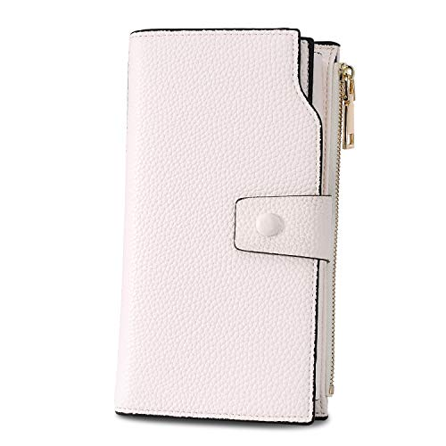 WOZEAH Women's RFID Blocking Large Capacity Luxury Wax PU Leather Clutch Wallet Card Holder Organizer Ladies Purse (A pearl white)