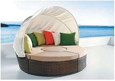 Exterior tumbona Toldo mimbre ratán cama de día de patio + mesa de café: Amazon.es: Jardín