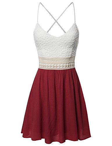 Sleeveless Spaghetti Strap Lace Detail Baby Doll Dress - Made in USA Burgundy L