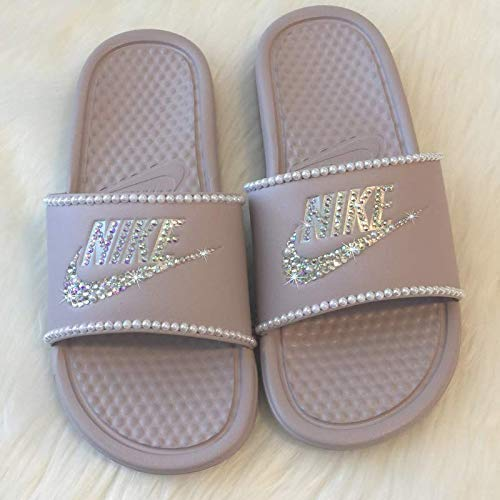 74c550f1f3ea Amazon.com  Nike Slides with Pearls and Bling Slip On Shoes For Women Rose  Color NIKE Benassi JDI Slides with Crystals Custom Glitter Kicks  Handmade