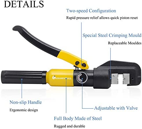 CGOLDENWALL Hydraulic Crimping Tools 4-70㎡ with 8 Hexagon Steel Die for Copper and Aluminum Terminal Lugs Battery Wire Crimping