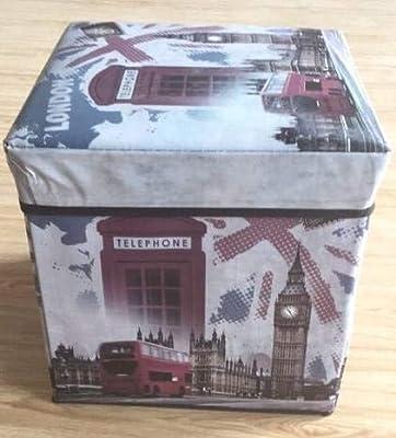 Dorte Hogar Puff Plegable Caja con Tapa London 30 x 30 x 30 cm ...