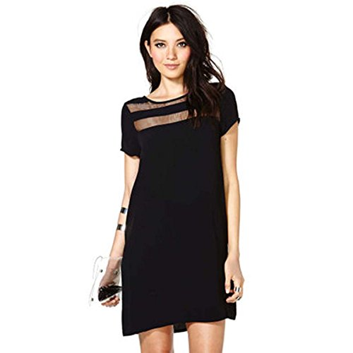 Womens Shoulder Front and Back See Through Glass Stitching Short Sleeve Slightly Loose Dress (Black - Day Glasses Night Online Shopping