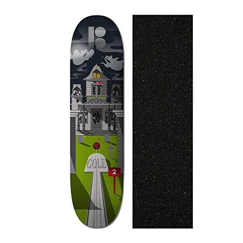 (Plan B Cole Haunted House 8 inch Skateboard Deck with Mob Glitter Grip Tape)