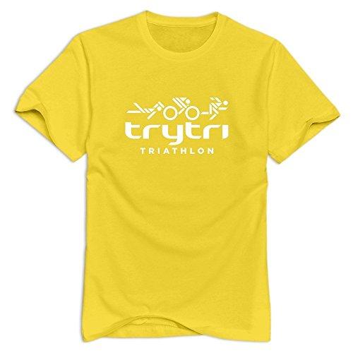 Yellow Triathlon Roundneck T Shirts For Man Size - Sydney Triathlon Clothing
