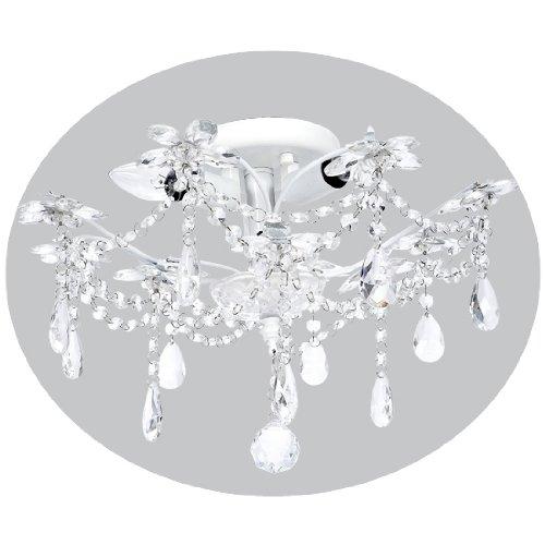 7002 3 Light Ceiling Chandelier, Crystal Flower White ()