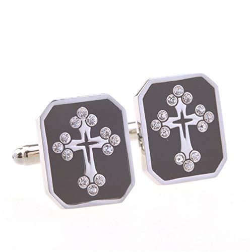 Epoxy French Crystal Diamond Cross Cufflinks 2PC Men's Shirts Decorative Gifts Diamond Metal Cufflinks