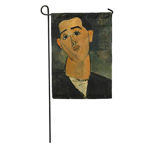 Semtomn Garden Flag Juan Gris by Amedeo Modigliani 1915 Italian Modernist Painting Oil Home Yard House Decor Barnner Outdoor Stand 12x18 Inches Flag ()