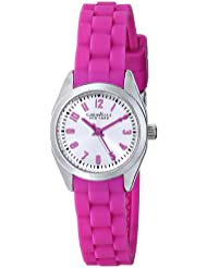 Caravelle New York Womens 43L175 Silver-Tone Watch with Pink Rubber Band