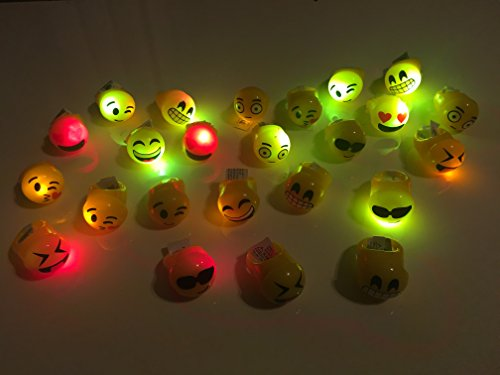 Light Up Emoji Rings (24 pieces) and Emoji Erasers (24 pieces) 48 items of Party Favors (College Girl Halloween Pics)