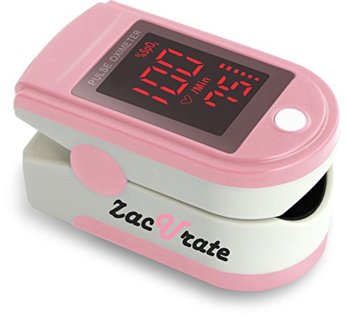 Zacurate Pro Series 500DL Fingertip Pulse Oximeter Blood Oxygen Saturation Monitor with Silicon Cover, Batteries and Lanyard (Blushing Pink)