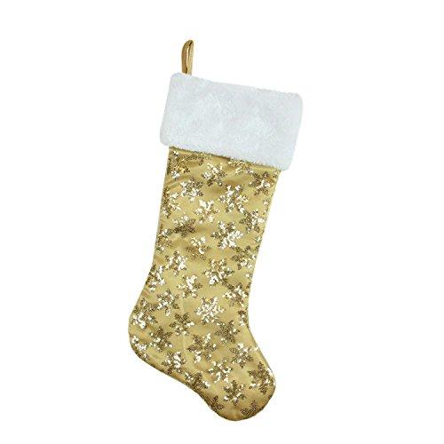 """CC Christmas 20.5"""" Gold Sequin Snowflake Christmas Stocki..."""