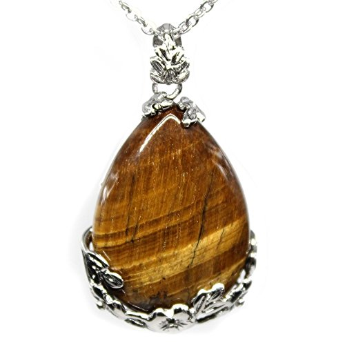 Christmas Gift! Real Natural Tiger's Eye Teardrop Pendant Necklace, 20