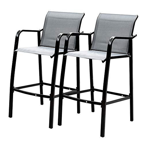 Sundale Outdoor Counter Height Bar Stool All Weather Patio Furniture with Quick-Dry Textilene Fabric, 2 PCS Set (Dark Grey) Review