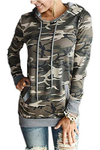 Casual Hooded Sleeve Long - EIFFTER Women Floral Print Pullover Hoodie Casual Long Sleeve Drawstring Hooded Sweatshirt with Pocket (X-Large, Camouflage)