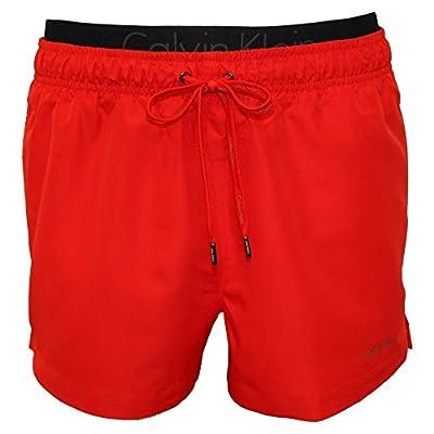 Calvin Klein Double Waistband Men's Swim Shorts, Red