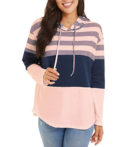 CRYSULLY Women's Hoodies Athletic Sweatshirts Color Block Soft Long Sleeve Pullover Loose Fit Active Tops