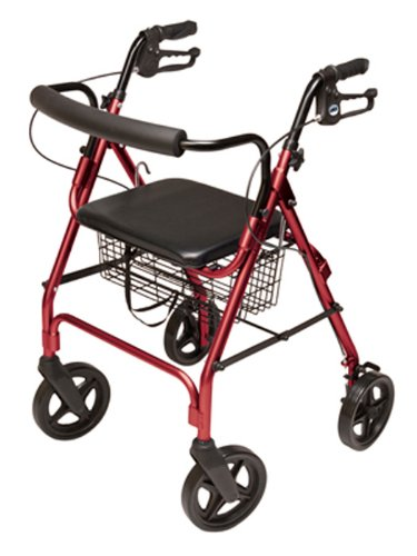 (Lumex Aluminum Rollator with Curved Back Wheels, 8 Inches, Burgundy)
