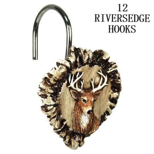 Linens And More 12 pc River's Edge Products Antler Deer Shower Curtain Hook Set