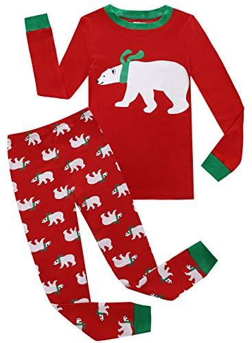 Kids Pajamas Hop Christmas Pajamas for Big Boys Girls 100% Cotton Clothes Childrens Jammies (Red,10)