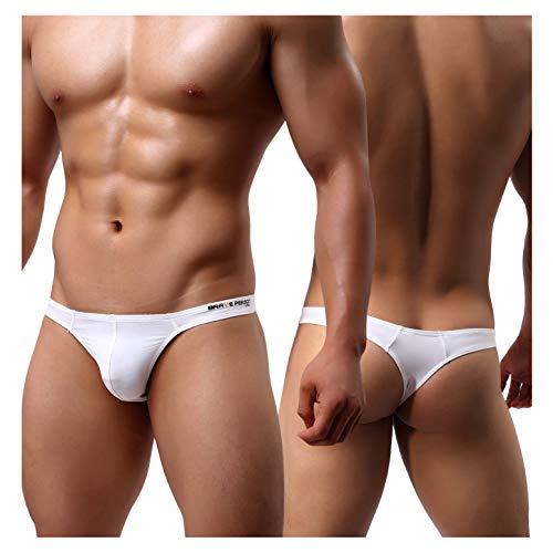 Arjen Kroos Men's Thong Swimwear Underwear Sexy Bikini T-Back Swimsuit White