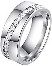 Ring for women Silver Rounded with Crystal Romantic shape Size 7 Item No 1118 - 2
