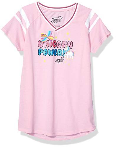 JoJo Siwa Girls' Big Unicorn Power V-Neck Athletic Varisty Stripe Tee, Pink Heather, X-Large-16
