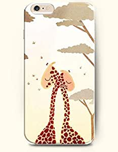 OOFIT Apple iPhone 6 Case 4.7 Inches - Two Giraffes Hugging under Trees