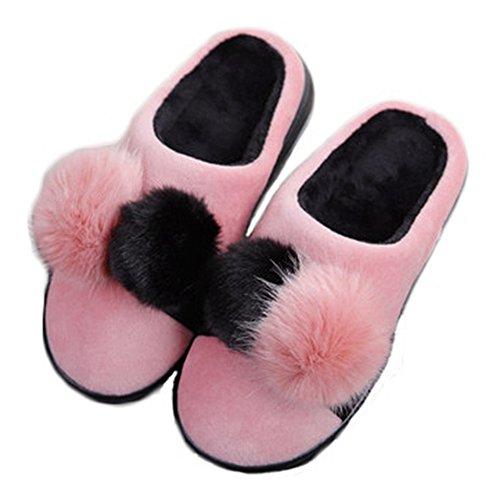Ciabatta Da Donna Carina Palla Coperta Pantofole Inverno Morbido Peluche Camera Da Letto Pantofola Antiscivolo Rosa