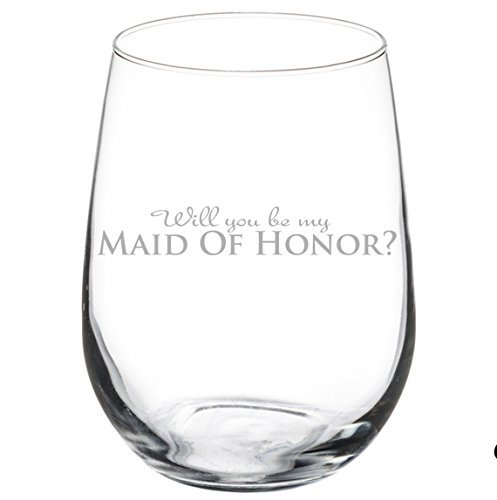 MIP SYNCHKG114930 Wine Glass Goblet Wedding Bride Will You Be My Maid of Honor? 17 oz Stemless