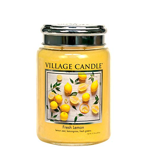 Village Candle Fresh Lemon 26 oz Glass Jar Scented Candle