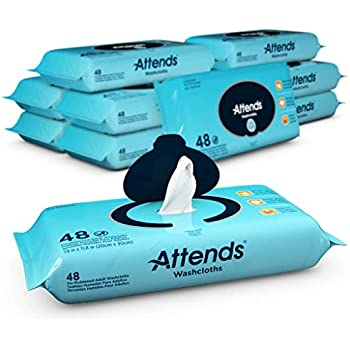 Attends Unscented Washcloths for Adult Incontinence Care, hypoallergenic, Latex and Alcohol Free, 48 Count (Pack of 12)